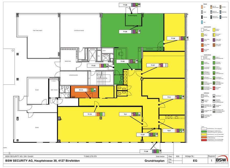 Zonenplan für ein Zutrittssystem | BSW SECURITY AG